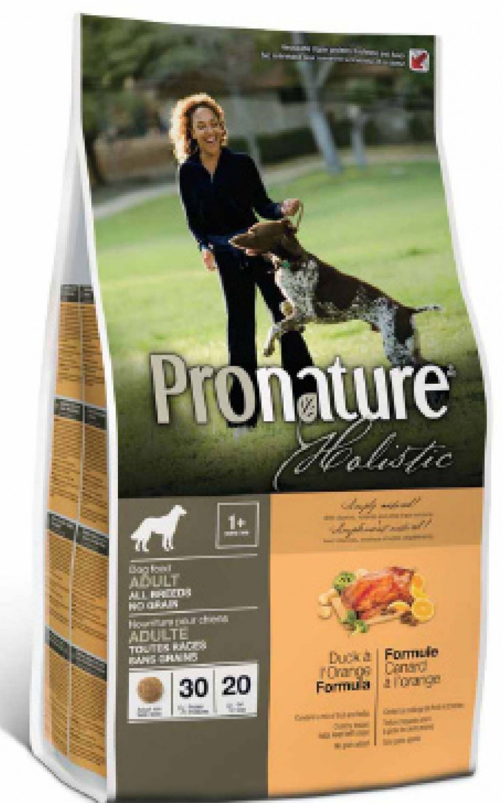 PRONATURE HOLISTIC CANE ADULTO - NO GRAIN - ANATRA ALL'ARANCIA - SENZA CEREALI - 0,340 kg.