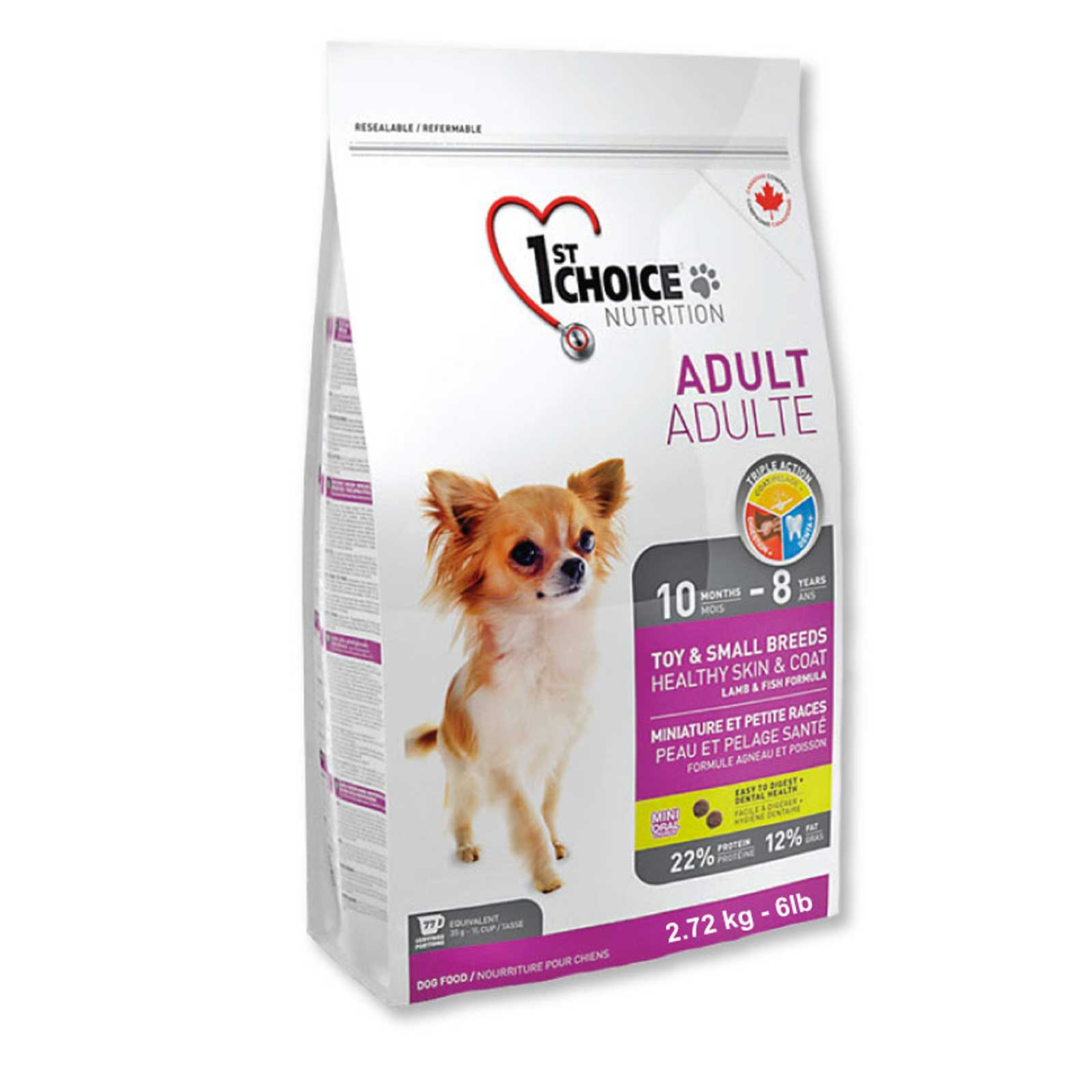 CROCCHETTE 1ST CHOICE CANE ADULTO - TAGLIA TOY & PICCOLA - SENSITIVE SKIN & COAT - 2,72 kg.