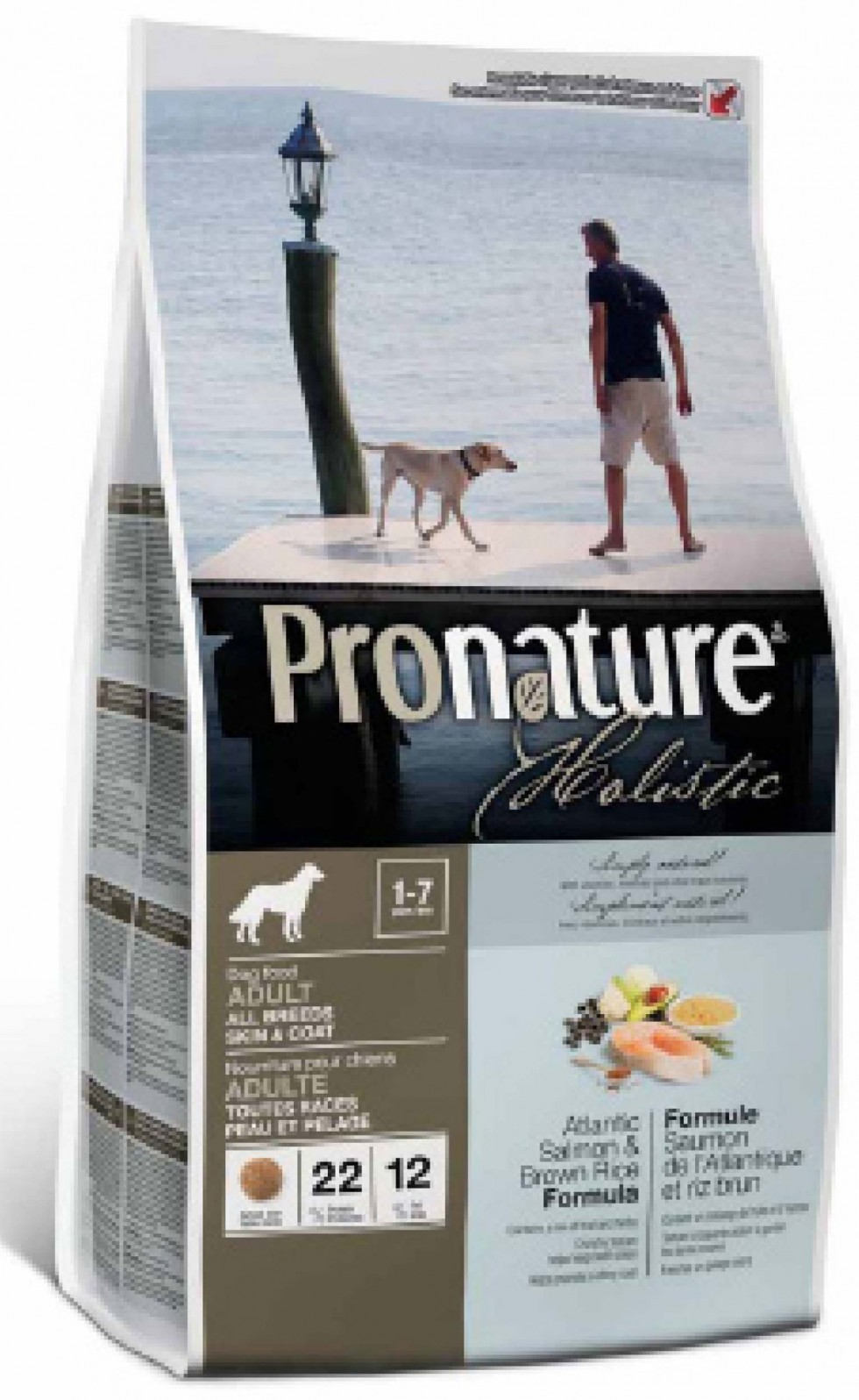 PRONATURE HOLISTIC CANE ADULTO SKIN&COAT - SALMONE ATLANTICO & RISO INTEGRALE - 13,6 kg.